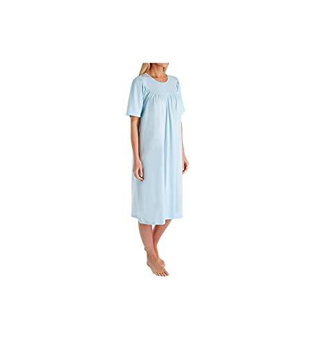 Calida Damen Soft Cotton Kurzarm Nachthemd, Hellblau, 50