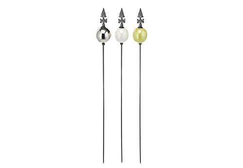 Kobolo Gartenstecker Dekostecker - Peak Kugel - Silber Weiß Grün - H 109 cm im 3er Set
