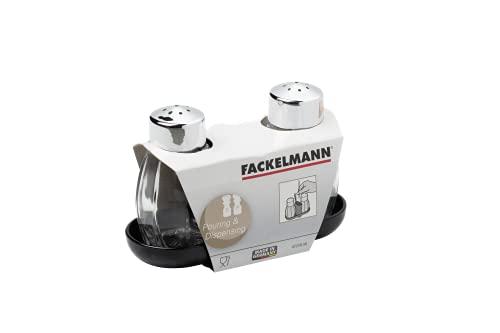 Fackelmann Menage JADE, Gewürzständer mit Salz- und Pfefferstreuer und Zahnstocherhalterung (Farbe: Silber/Transparent/Schwarz), Menge: 1 Stück