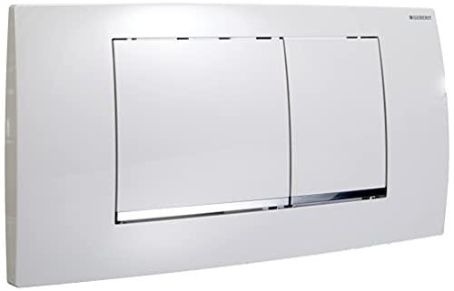 Geberit Betätigungsplatte Twinline 30 (für 2-Mengen Spülungen, Betätigung von vorne, Platte + Tasten weiß, Designstreifen glanzverchromt) 115899KJ1