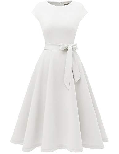DRESSTELLS Damen Cocktailkleid Midilang Rockabilly Kleid Festliches Abendkleid Weiss kurz White XL