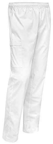 Weiße Praxishose Bequeme praktische Arzthose mit elastischen Gummibund Herren Hygiene Medizin Pflege Catering Gastro, Größe: 50