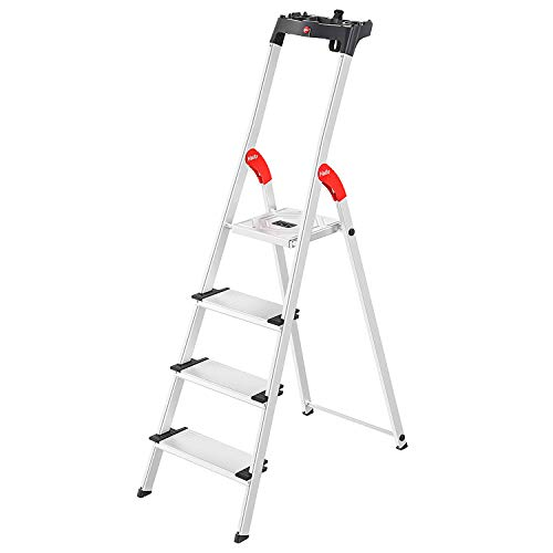 Hailo L80 ComfortLine Alu-Sicherheits-Stehleiter | 4 XXL-Stufen belastbar bis 150 kg | tiefe Standfläche |Stehleiter mit Ablage | klappbare Aluleiter made in Germany | Leiter rostfrei | silber