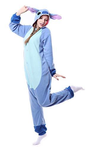 Erwachsene Adult Pyjama Cosplay Tier Onesie Nachtwäsche Kleid Overall Animal (M, Blue Stitch)