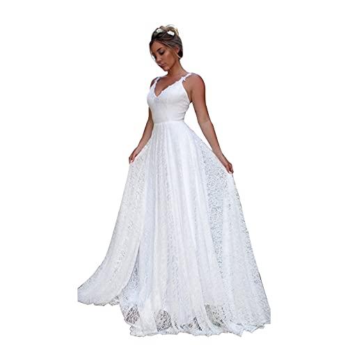AIYIFU Brautkleider aus Spitze für Damen Tief ausgeschnittenes Brautkleid mit offenem Rücken für die Braut,White,M