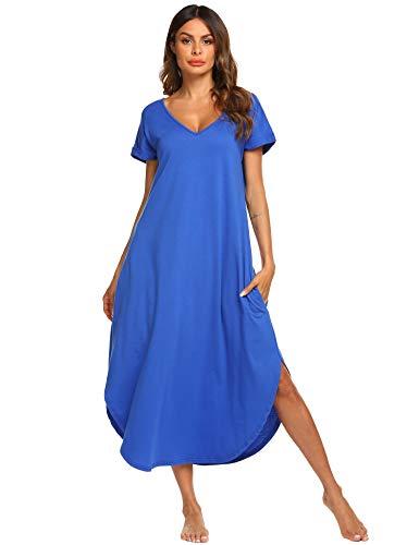 ADOME Damen Nachthemd Kurzarm V-Ausschnitt Sleepshirt Nachthemd High Low Unregelmäßige Baumwolle Lange Nachtwäsche Schlafanzug Kleid mit Taschen