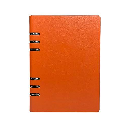 A5 nachfüllbares Notizbuch, PU-Leder, lose Blätter, Notizblock, klassisch, liniert, mit Tasche, für Geschäftstreffen, Reisetagebuch (Orange)
