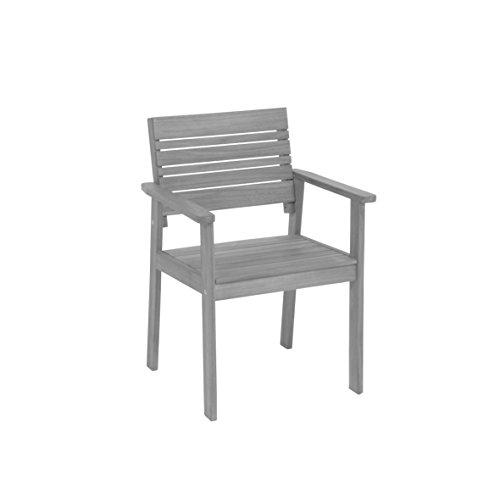 Greemotion Gartenstuhl Maui aus Holz-Holzstuhl grau-Gartensessel Balkon & Terrasse-Holzsessel massiv-Garten Stuhl mit Armlehne-Lounge Gartenmöbel, 6,7 x 5,8 x 1,2 cm