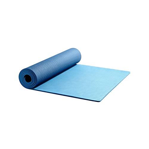 MeiZi TPE Yoga Matte 6mm Bodenübung Trainingsmatte Umweltgymnastik Fitness Gummimatten für Anfänger Hohe Qualität (Color : Blue)