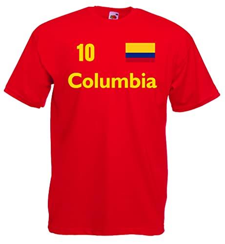 Fruit of The Loom Kolumbien Herren T-Shirt Columbia Trikot Nr.10 von S-XXL|r-L