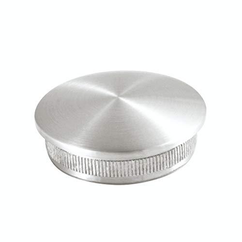 Edelstahl Endkappe, Rohrverschluß,Rohrstopfen, leicht gewölbt, konvex mit Rändel für Ø 42,4 mm Handlauf