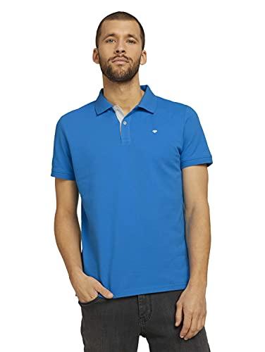 TOM TAILOR Herren 1016502 Logo Polohemd, 26178-Bright Ibiza Blue, XL