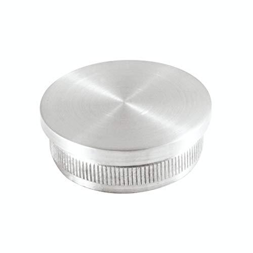 Edelstahl Endkappe, Rohrverschluß,Rohrstopfen flach mit Rändel für Ø 42,4 mm Handlauf