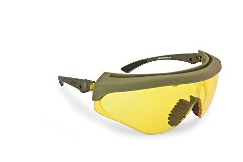 Ballistische Schutzbrille Schießbrille Sicherheitsbrillen Beschlagungsfrei Bruchsicher Lens von Bertoni Italien - Arbeitsschutzbrille AF869 - Militär-Grün Soft-Touch (Gelbe Linse)