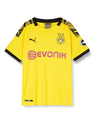PUMA Jungen Trikot BVB Home Replica mit Evonik Logo mit OPEL Logo, Cyber Yellow/Puma Black, 152, 755738