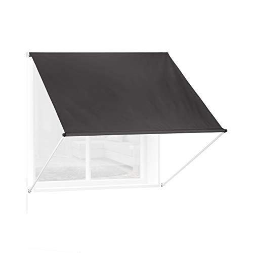 Relaxdays Fallarmmarkise HxB: 120x150 cm, Schattenspender Fenster, 50+ UV-Schutz, Seilzug, Polyester & Metall, anthrazit
