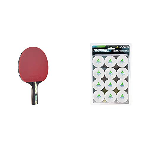 JOOLA TT Mega Carbon ITTF zugelassener Tischtennis-Schläger für Fortgeschrittene Spieler-Carbowood Technologie, 2,0 MM Schwamm & Tischtennis-Bälle Training 40mm, Weiß, 12er Blister Pack