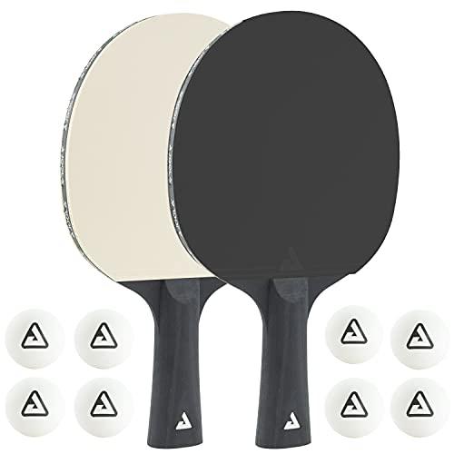 JOOLA 54817 Tischtennis-Set COLORATO Bestehend aus 2 Tischtennisschläger 8 Tischtennisbälle-Ideal für Familien und Freizeitsport, Black&White, Einheitsgröße