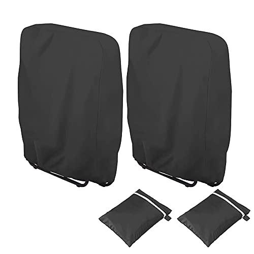 Viilich Klappstühle Abdeckung,2 Stück Gartenstühle Schutzhülle Winddicht Anti-UV Wasserdicht für Liegestuhl Faltstuhl Konferenzstuhl Deckchair Klappbar Gartenmöbel,mit Tragetasche (Schwarz)
