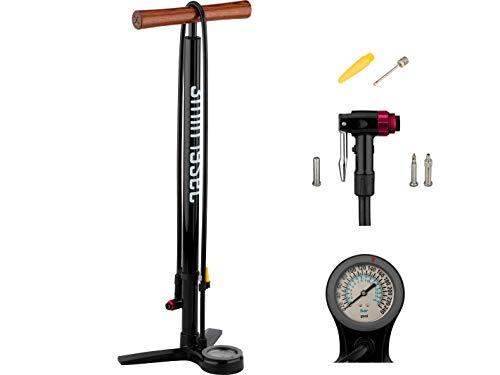 3min19sec Fahrradpumpe Premium aus Aluminium mit Holzgriff - bis 16 bar / 240 psi - Hochwertige Standpumpe fürs Fahrrad, MTB oder Rennrad - für alle Ventile mit Manometer