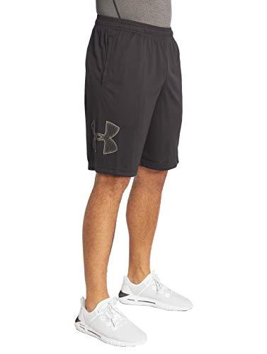 Under Armour Herren Tech Graphic Short atmungsaktive Sweatshorts für Männer, komfortable Kurze Hose mit Loser Passform, Black/Graphite, M