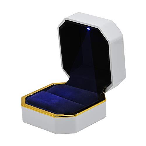 Ring Box, Luxus Vorschlag Ring Box mit LED, Samt Achteck Ehering Fall Schmuck Geschenkbox Ohrring Schmuck Achteck Box für Vorschlag, Verlobung, Hochzeitszeremonie (Weiß)