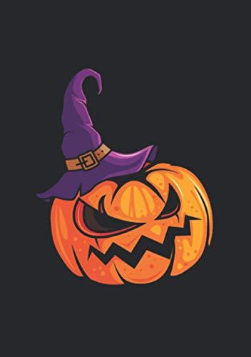 Notizbuch A5 kariert mit Softcover Design: Halloween Kürbis Verkleidung mit Hut Grusel Kürbis: 120 karierte DIN A5 Seiten