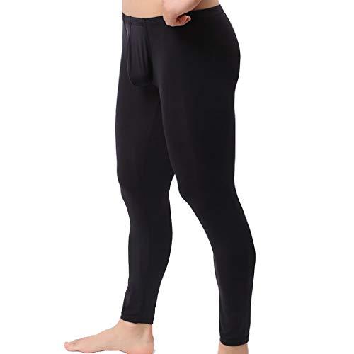 YFD Herren Lange Unterhosen mit Weichbund transparent Hose Unterwäsche Strumpfhose Leggings (XL, Black)