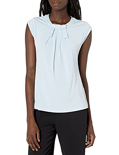 KARL LAGERFELD Paris Damen Short Sleeve Top with Bow Hemd, eisblau, X-Groß