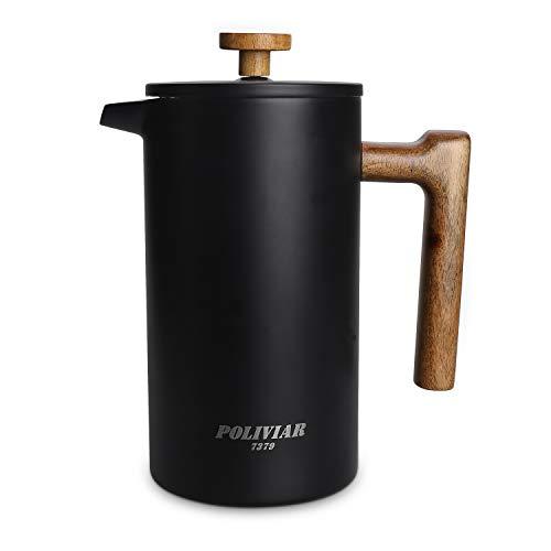 Poliviar French Press Kaffeebereiter 1 Liter/8 Tassen, Doppelwandige Isolierte Kaffeekanne und Teebereiter, Handfilter Kaffeepresse mit Plunger & Griff aus Holz, Vintage (Schwarz) JX2019-FPB10-DE
