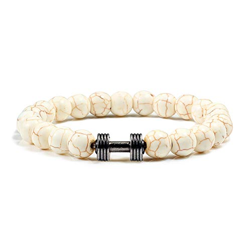 GROPC Natursteinarmband,8Mm Männer Naturstein Armbänder Türkis Charme Frauen Perlen Armbänder Schwarz Hantel Casual Fitness Armband Armreifen-Beige