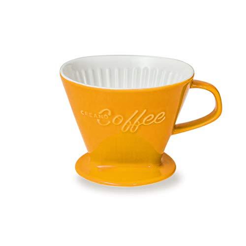 Creano Porzellan Kaffeefilter (Safrangelb), Filter Größe 4 für Filtertüten Gr. 1x4, ca. 800gr Gewicht für extrem sicheren Stand, Achtung schwer, in 6 Farben erhältlich
