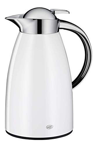 alfi Thermoskanne Signo, Metall weiß 1L, mit alfiDur Glaseinsatz, 1421.211.100, Isolierkanne hält 12 Stunden heiß, ideal als Kaffeekanne oder Teekanne, Kanne für 8 Tassen