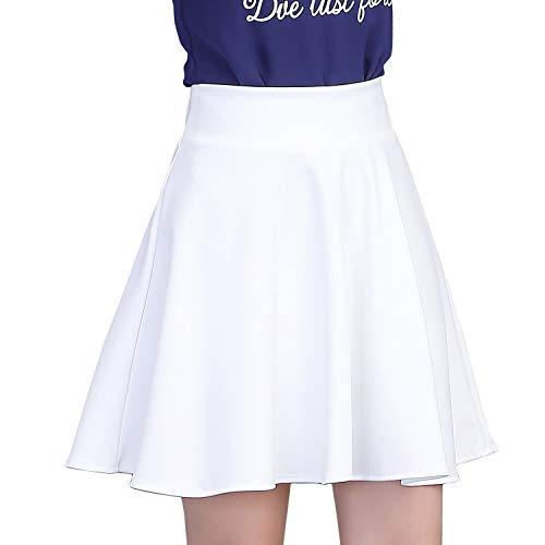 DISSA CA606 Damen Plissee Mini A-Linie Rock,Weiß,XL,EU 40