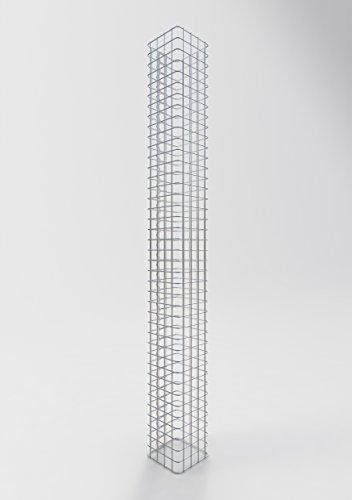 GABIONA | Gabionensäule HxBxT: 200 x 22 x 22 cm | Maschenweite 5 x 5 cm | Eckiger Gabionenpfosten für den Garten | Rostfrei