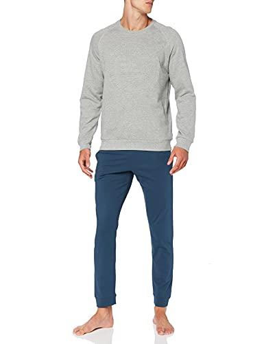 ATHENA Herren MOLLETON 8J29 Pyjamaset, Oberteil, Molton, Blau, Jeans-Stoff, L