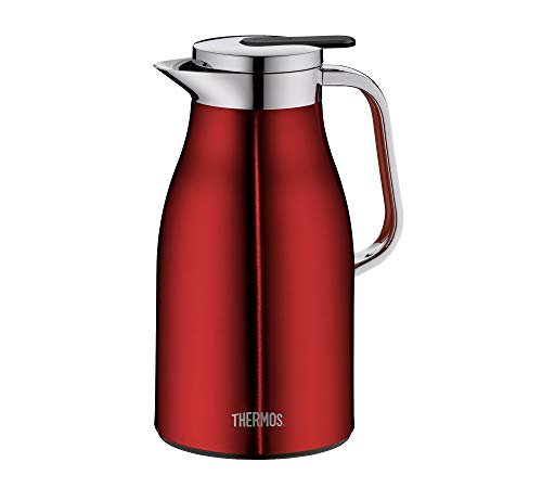 THERMOS Thermoskanne Century, Edelstahl rort 1L, Glaseinsatz, Einhandausgießtaste, 4046.248.100 Isolierkanne hält 12 Stunden heiß, ideal als Kaffeekanne oder Teekanne, Kanne für 8 Tassen