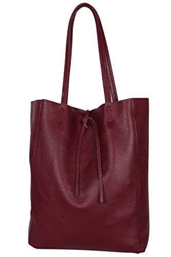 AmbraModa GL032 - Italienische Handtasche, Shopper, Schultertasche, Einkaufstasche mit Innentasche aus echtem Leder (Bordeaux)