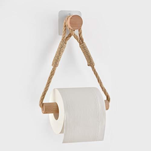 Toilettenpapierhalter ohne Bohren Klopapierhalter Klopapierrollenhalter Vintage Handtuchhalter WC Papier Halterung für WC Badezimmer Bad Vintage Dekoration Industrie Seil
