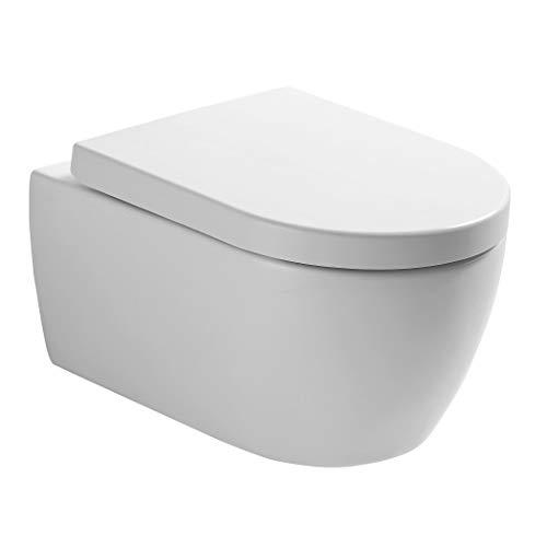 NEG Hänge-WC Uno11RK (Tiefspüler/randlos/kurz) Toilette ohne Unterspülrand mit Duroplast Soft-Close-Deckel und Nano-Beschichtung