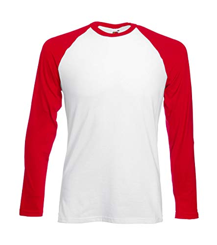 Fruit of the Loom Baseball Langarm ( Longsleeve ) T-Shirt S M L XL XXL Weiss - Rot,M