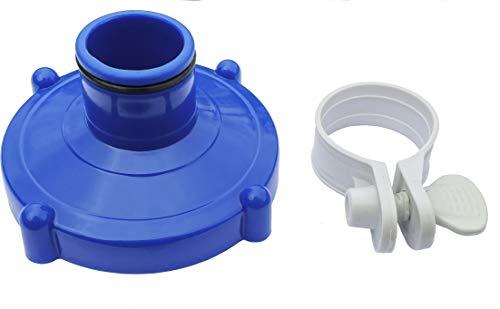 Algenschnapper Bodensauger an Filteranlage für Quick-up Pools von Intex und Bestway (80mm auf 32mm) Adapter für Poolschlauch mit rostfreier Schlauchschelle, blau/grau