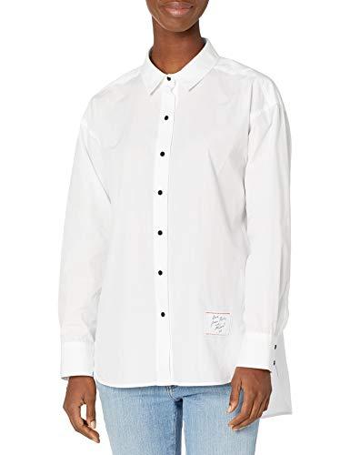 KARL LAGERFELD Paris Damen LS OVRSZD BLS Button Down Hemd, Weiß (Soft White), X-Groß