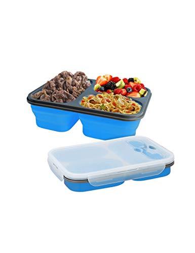 Faltbare Frischhaltedosen Brotdosen aus Silikon Faltbare Lunchbox Klappbar Bento Box BPA-Frei Platzsparenden Dosen Spülmaschine Mikrowelle Gefrierschrank Brotdose für Kinder & Erwachsene SPDYCESS