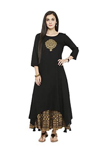 Kurta Set für Frauen Designer indische gerade A-Linie Anarkali Kurti Set Tunika Party Wear - Schwarz - XX-Large