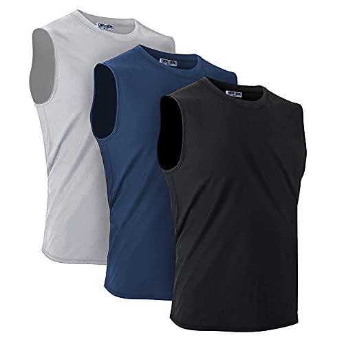 TAATEX Herren Ärmelloses Hemd   Tank Top Funktionsunterhemd - Sport Laufshirt   Gym Shirt Fitness Muskel Atmungsaktive Kleidung Rüstung für das Training - 3er Pack (XL - Grey, Navy Blue, Black)