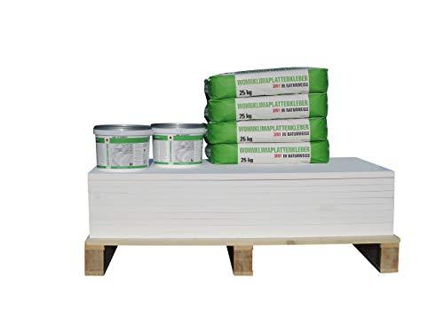 CaSi Systems Renovierset Klimaplatte 50 mm klassisch Wohnklimaplatte, Dämmplatte inkl. Silikatgrundierung und Klimaplattenkleber ✓ Klimaplatte gegen Schimmel ✓ Paket Innenraum & Keller (7,2 m²)