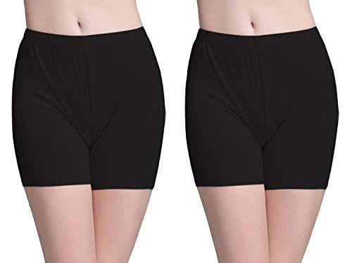 Vinconie Kurze Leggings Damen Unterrock Hose Radlerhose Kurz Leggings Shorts, 2 Pack: Schwarz & Schwarz, Large / (46 48)