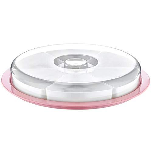 Rundes Servierschalen-Set mit Deckel | Tablett mit 6 Schalen ideal für Frühstück, Antipasti Platte, Snacks & Dips Süßigkeiten Snackschale Servier Set Box 34x6 cm | Runde Frühstücksplatte (Rosa)