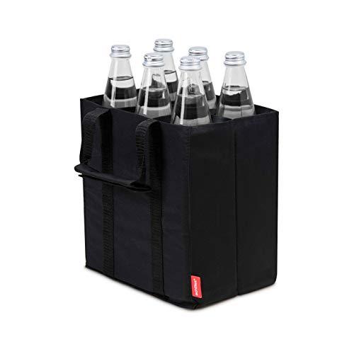 Achilles Flaschentasche, Bottle Bag für 6 x 1,5 Liter Flaschen, Bottlebag, Tragetasche mit Trennwänden für Flaschen, Autobox, Einkaufstasche mit 6 Fächern, schwarz, 25 cm x 17 cm x 27 cm